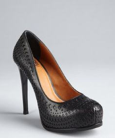 Pour la Victoire black cutout leather 'Veder' platform pumps | BLUEFLY up to 70% off designer brands