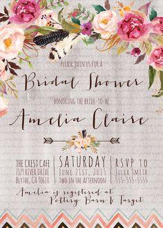 Boho Bridal Shower Invitation, Rustic, Tribal, Aztec, Floral, Bohemian Bridal Shower Invites [2]