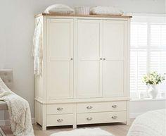 Freestanding Wardrobe Oak/&Cream Storage With Hanging Rail Bedroom Furniture