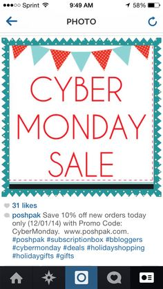 10% off today only (12/01/14) with code: CyberMonday. Poshpak.com Cyber Monday Sales, 10 Off, Holiday Gifts, Coding, Xmas Gifts, Programming