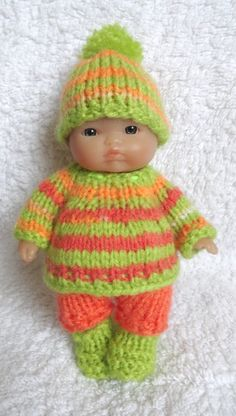 Hand Knitted Clothes for 5  Berenguer Doll (#106)