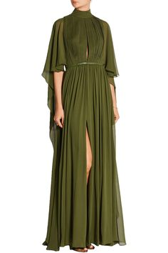 Elie Saab Cape-effect silk-chiffon gown Green Evening Dress, Green Dress, Evening Dresses, Elie Saab, Mode Chic, Chiffon Gown, Beautiful Gowns, Dress Me Up, Designer Dresses