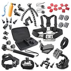 40+in+1+Outdoor+Sports+Accessories+Kit+for+GoPro+Hero+4s+4+3++3+2+1+Black+Silver+with+Large+Bag+–+USD+$+33.99