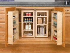 "Rev-A-Shelf 4WBP18-25-KIT | The 4WP Series Swing-Out Wood Pantry System is designed for 36"" full height base cabinets the series features amenities the competitors just don't offer from an industrial piano hinge, adjustable inside door and pantry shelves with chrome rails. The solid construction consists of 1/2"" maple that has a UV-cured, clear finish to ensure a beautiful match to any cabinet. The complete kit includes two swing-out units and two door storage units with patented door mount…"