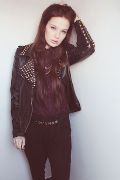 Choies Studded Leather Jacket, Asos Oui/Non Belt, Sugarlips Black Harem Pants, Romwe Golden Spike Tassels, Ianywear Burgundy Shirt
