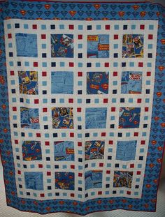 Superman Quilt by LASO Quilts, via Flickr