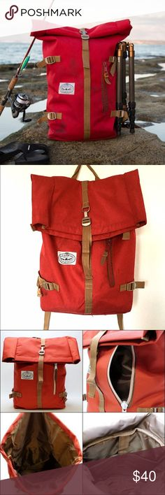 Poler Stuff Roll Top Backpack Almost impossible to find this color & edition anymore! Bright red & khaki straps/interior. Front pocket storage. I've loved this bag but am trying to get rid of some things in the new year. It shows some light wear from the trail, but is in good condition. I still get compliments every time I wear it! The inner laptop pocket seam is open at the bottom - Poler will fix that for free. But if this is just a stuff-in bag for you, you shouldn't need that pocket…