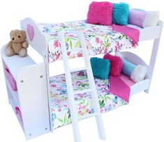 Compatible with 18 Doll Clothes PZAS Toys 18 Inch Doll Bed 3 Teddy Bears and More Pajamas Bunk Bed Furniture for 18 Doll Complete Set with Linens