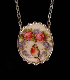 Broken china jewelry necklace oval antique robin bird roses forget me nots made from a broken plate