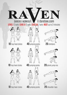 Raven Workout. Instructions:Repeat each move with no rest in between until the set is done, rest up to 2 minutes and repeat the whole set again 3, 5 or 7 times depending on your fitness level. // What it works:Calves, shoulders, lower abs, glutes, cardiovascular system, lower back, core.