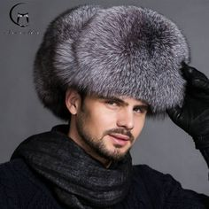 Luxury REAL Fox Fur Men Hat 100% Sheepskin Top ❤️ Pin it please on your board Hats For Sale, Hats For Men, Hat Men, Ear Cap, Fox Hat, Hat Sizes, Caps Hats, Winter Hats, Luxury