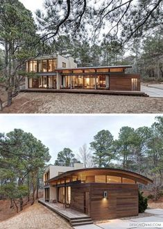 18 Modern Houses In The Forest 18 Modern House In The Forest // This secluded house makes the most of the surrounding forest and captures the views of the nearby bay. Architecture Durable, Architecture Design, Modern Architecture Homes, Sustainable Architecture, Roof Design, Exterior Design, Casas Containers, Building A Container Home, Forest House
