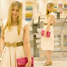 Rachel @Rachel's Lookbook - Eshakti Dress, Windsor Store Belt, Banana Republic Clutch, Aerosoles Wedges - Easter Dress