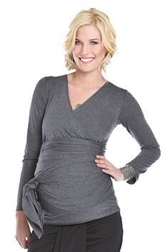 Bella Maternity And Nursing Wrap Top by Lilac | Nursing Apparel    Available at www.duematernity.com