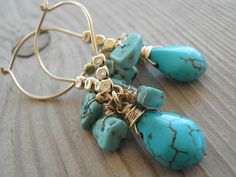 #Turquoise #Glories #Cluster #Earrings, #Howlite Turquoise #14k #Gold filled And #Gold Filled #Beads #gifts $48 #brigteam