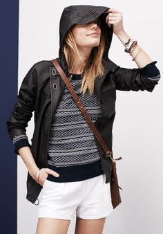 Madewell Lighthouse jacket worn with Wavelet pullover + deck shorts.