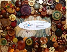 THANKSGIVING Button Frame in Browns ~ Holiday Frame ~ Unique Frame ~ Rustic Home Decor ~ Gift for Him ~ Gift for Her ~ for 4x6 photo
