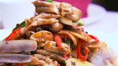 Stir-Fried Razor Clams with Black Bean and Chilli Sauce