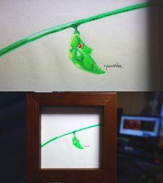 pokemon art for bugs.Pokemon - Metapod has been coloring in watercolor pencils. 虫さんのためのポケモン・トランセルの水彩色鉛筆ぬり絵の様子です。 #pokemon #Metapod #go #art #ポケモン #トランセル #アート