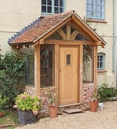 Backyard screen house sliding doors 16 Ideas for 2019 Porch Uk, House Front Porch, Cottage Porch, Front Porch Design, Diy Porch, Porch Designs Uk, Front Porch Addition, Brick Porch, Front Door Entrance
