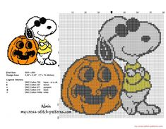 Halloween Snoopy with a pumpkin free small cross stitch pattern