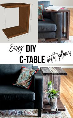 How to build a C-table. Full step by step details and plans for a DIY wood C-table. Rolling side table for end of sofa or couch.