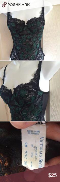Green black lace overlay lingerie bodysuit teddy From Victoria secret Victoria's Secret Intimates & Sleepwear