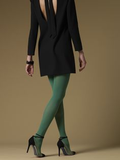 Sculptz Shaping Tights in Dark Green. Only at Silkies.com.