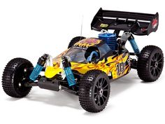 Hurricane XTR Buggy 1/8 Scale Nitro - Yellow Flame. Fast and fun. Use coupon code RC7 to get 7 dollars off.
