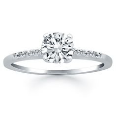 14K White Gold Engagement Ring with Diamond Band Design