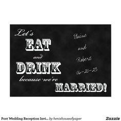 "Post Wedding Reception Invitation -- Chalkboard 5"" X 7"" Invitation Card"