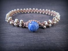 Silver Crocheted Boho Bracelet with denim blue accent, galvanized silver beaded bracelet, Boho jewelry
