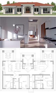 37 New Ideas For House Plans Modern Farmhouse Small My House Plans, House Layout Plans, Family House Plans, House Layouts, Small House Plans, House Floor Plans, Bungalow House Design, Small House Design, Cool House Designs