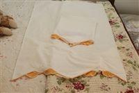 Vintage Peach & White crochet trimmed pillowcases