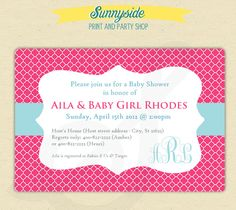 Baby Shower Invites - Printed Set -  Bubblegum & Blue - Quatrefoil