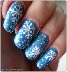 Blue snowflake nail art