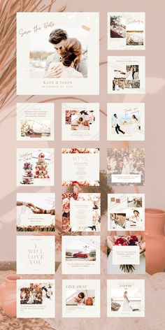 Love that boho-chic look? Whether you are a wedding-based business or not, you will love our Wedding Social Feed Template for Canva! Start feeling the love with the Wedding Social Feed Template pack. 30x bohemian, chic pre-branded designs, great for creating a cohesive look on all social platforms. Using fully customizable Canva Templates, inspire your audience with on-brand social posts that are fresh and boho-chic with ease. Wedding Cape, Our Wedding, Boho Chic, Bohemian, Instagram Post Template, Social Platform, Platforms, Inspire, Templates