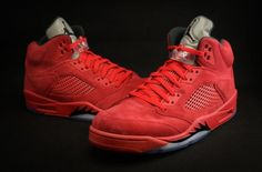 New Images Of The Air Jordan 5 Red Suede