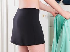 Sheer skirts are no problem for this panty and slip combo. Silky, anti-static material is flattering and comfortable.