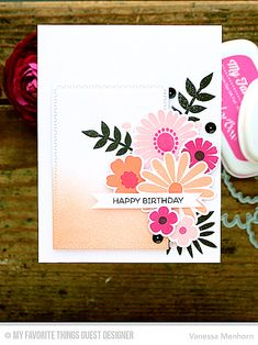 Floral Birthday Card by Vanessa Menhorn featuring the Large Desert Bouquet stamp set and Die-namics, the Birdie Brown Birthday Bears stamp set, and the Zig Zag Stitched Rectangle STAX Die-namics #mftstamps
