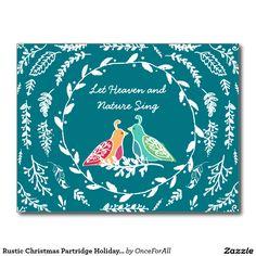 Rustic Christmas Partridge Holiday Birds Postcard