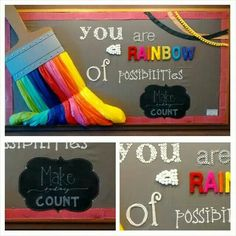 Back to school bulletin boards. Self esteem, rainbows, art, bulletin boards, paint brush. Figure out a cute way to add student names Back To School Bulletin Boards, Classroom Bulletin Boards, Classroom Door, Rainbow Bulletin Boards, Elementary Bulletin Boards, Colorful Bulletin Boards, Welcome Bulletin Boards, Creative Bulletin Boards, Art Classroom Decor
