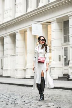 Winter White :: White trench & Midi sweater dress