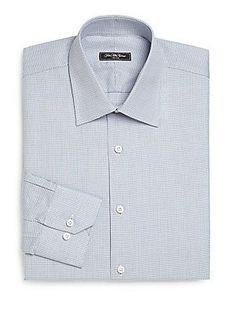 Saks Fifth Avenue Regular-Fit Textured Cotton Dress Shirt -