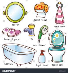 Vector illustration of Cartoon Bathroom element vocabulary