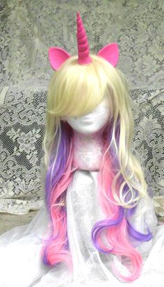 Hey, I found this really awesome Etsy listing at https://www.etsy.com/listing/198120612/princess-cadance-unicorn-wig-pink-and