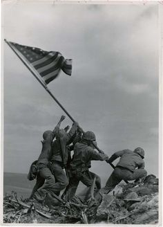 "Joe Rosenthal (1911 – 2006), ""Raising Flag on Suribachi, Iwo Jima"", Feb 23, 1945."