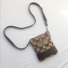 north/south crossbody swingpack > coach signature logo fabric- adjustable shoulder strap- interior is in excellent condition- slight wear to exterior fabric of the bag, this in no way impairs the integrity and function of the bag and in my opinion is only noticeable close up- guaranteed authentic, purchased at a coach factory store- no trades please Coach Bags Crossbody Bags