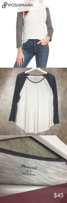 Madewell Baseball Tee The perfect classic baseball tee to add to your wardrobe. Pairs well with jeans, shorts, flats, sandals and sneakers. Three-quarter sleeves. In excellent condition. Size Large. Bust 19.5in Length 25in Sleeves 23.5in Madewell Tops Tees - Long Sleeve