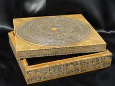Vintage Hand Carved Stone Box Vietnam Folk Art Primitive Birds Boats Symbols  CELESTIAL